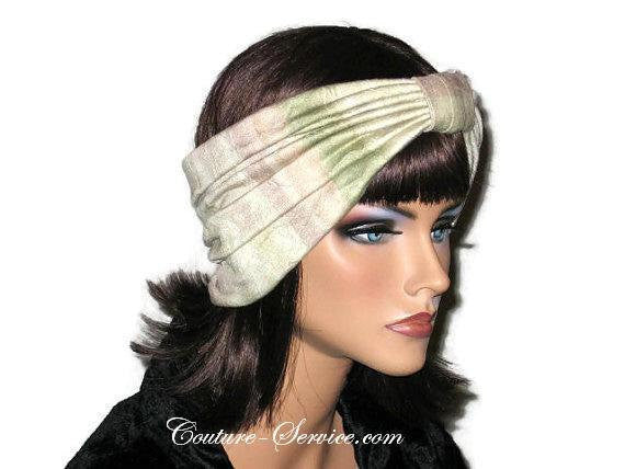 Handmade Sage and Peach Pleated Knot Headband Turban - Couture Service  - 4