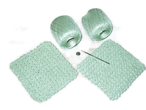 Handmade Decorative Crocheted Cotton Dishcloth Set, Green - Couture Service  - 4