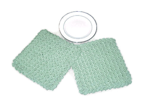 Handmade Decorative Crocheted Cotton Dishcloth Set, Green - Couture Service  - 1