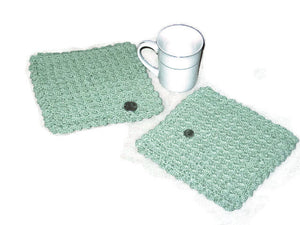 Handmade Decorative Crocheted Cotton Dishcloth Set, Green - Couture Service  - 5