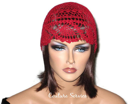 Handmade Red Pineapple Lace Cloche - Couture Service  - 1