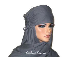 Handmade Grey Turban Scarf Hat, Heather, Side Shirred - Couture Service  - 2