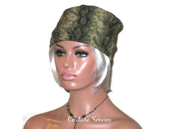 Handmade Olive, Side-Shirred, Turban Hat,  Brown, Animal Print - Couture Service  - 4