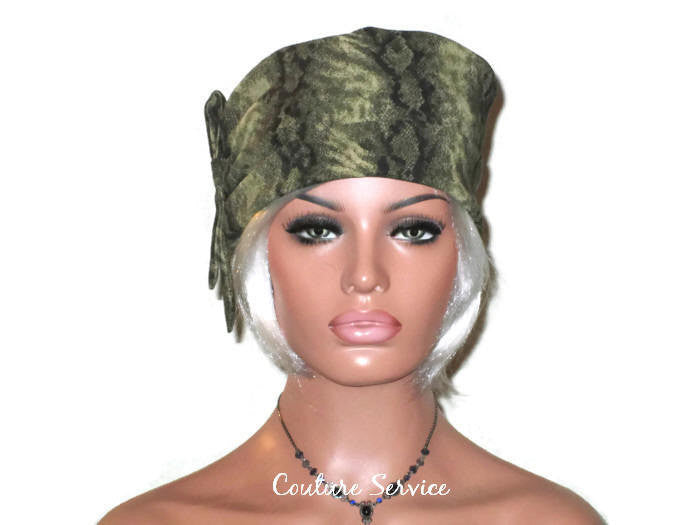Handmade Olive, Side-Shirred, Turban Hat,  Brown, Animal Print - Couture Service  - 1