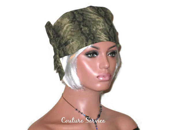 Handmade Olive, Side-Shirred, Turban Hat,  Brown, Animal Print - Couture Service  - 2