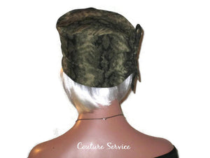 Handmade Olive, Side-Shirred, Turban Hat,  Brown, Animal Print - Couture Service  - 3