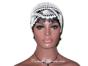 Handmade Pineapple Lace Cloche, Plus Size, Natural, White - Couture Service  - 2