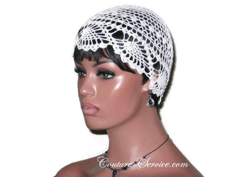 Handmade Pineapple Lace Cloche, Plus Size, Natural, White - Couture Service  - 1