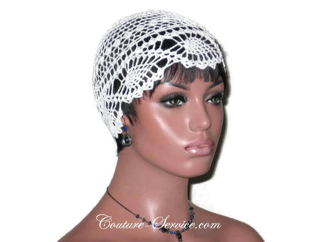 Handmade Pineapple Lace Cloche, Plus Size, Natural, White - Couture Service  - 3