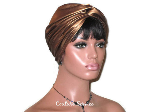 Handmade Leather Turban, Bronze Metallic - Couture Service  - 1