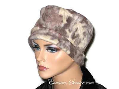 Handmade Tan Fleece Chemo Hat, Abstract - Couture Service  - 1
