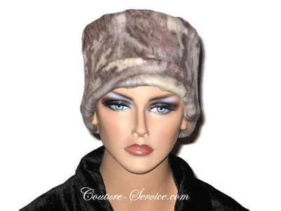 Handmade Tan Fleece Chemo Hat, Abstract - Couture Service  - 2