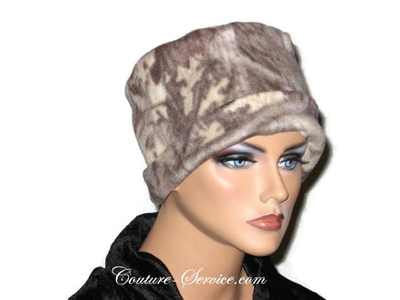 Handmade Tan Fleece Chemo Hat, Abstract - Couture Service  - 3