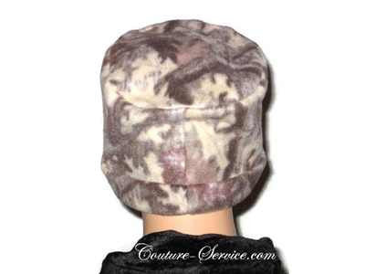 Handmade Tan Fleece Chemo Hat, Abstract - Couture Service  - 4
