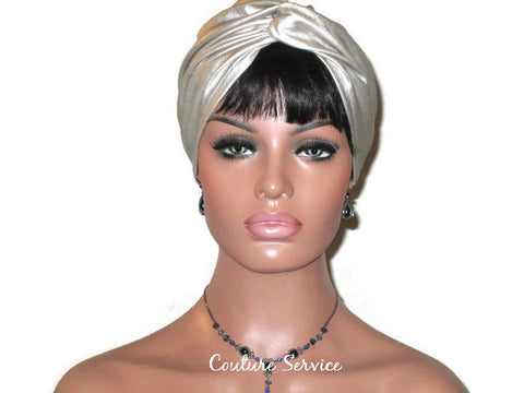 Handmade Leather Turban, Champagne, Metallic - Couture Service  - 1