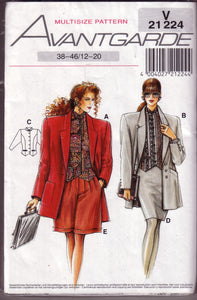 Vintage Neue Mode, Avantgarde, V 21 224, Jacket, Top, Skirt, Pant, Sizes 12 - 20 - Couture Service  - 1