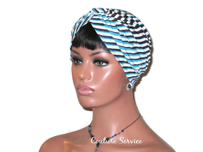 Handmade Blue Turban, Banded Single Knot, Diagonal Striped - Couture Service  - 1