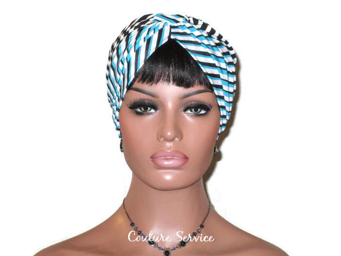Handmade Blue Turban, Banded Single Knot, Diagonal Striped - Couture Service  - 2