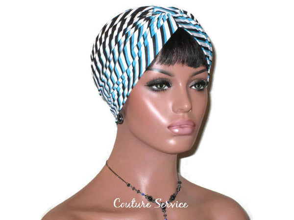 Handmade Blue Turban, Banded Single Knot, Diagonal Striped - Couture Service  - 3