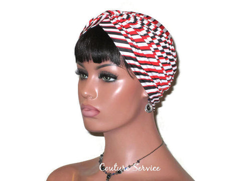 Handmade Red Turban, Banded Single Knot, Diagonal Stripe - Couture Service  - 1