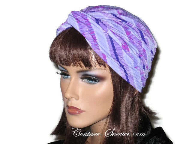 Handmade Purple Twist Turban, Striped, Diagonal - Couture Service  - 2