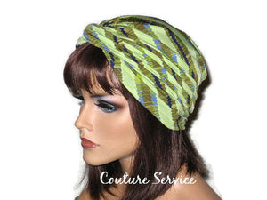 Handmade Green Twist Turban, Striped, Diagonal - Couture Service  - 2