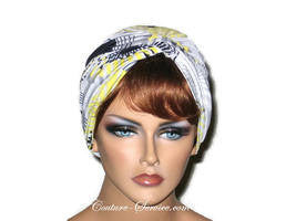 Handmade Yellow Twist Turban, Abstract, Black - Couture Service  - 1