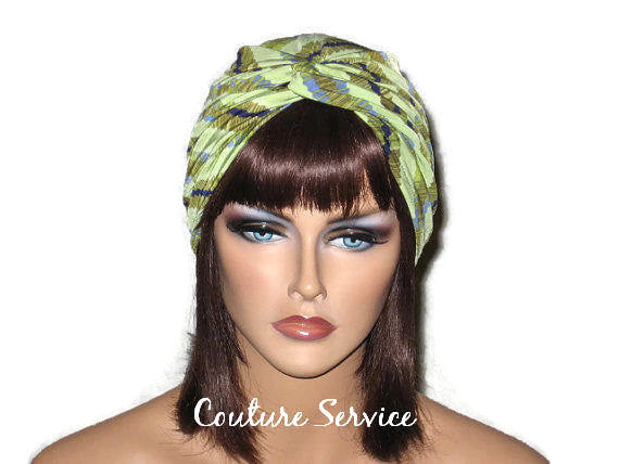 Handmade Green Twist Turban, Striped, Diagonal - Couture Service  - 1