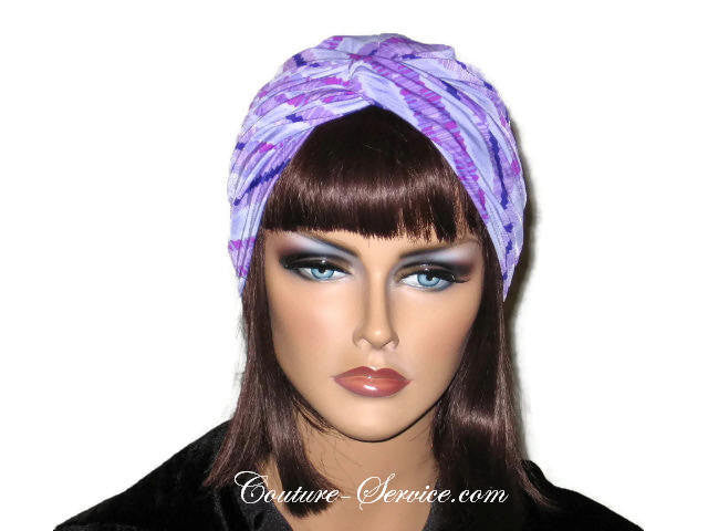 Handmade Purple Twist Turban, Striped, Diagonal - Couture Service  - 1
