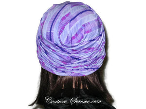 Handmade Purple Twist Turban, Striped, Diagonal - Couture Service  - 3