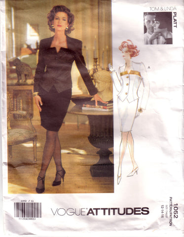 Vintage Vogue Attitudes 1052, Designers Tom and Linda Platt, Misses Jacket, Skirt, Size 12, 14, 16 - Couture Service  - 1