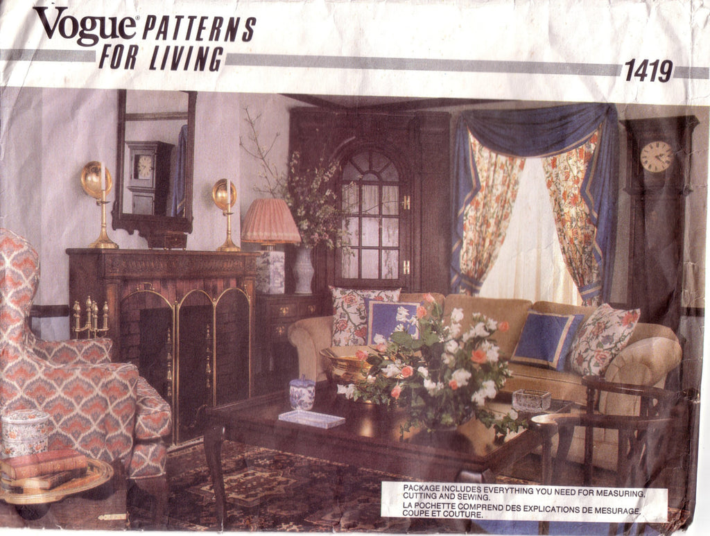 Vintage Vogue 1419,  Patterns for Living, Swag Curtains, Tieback Curtains, Lampshade, Tablecloths, Pillow Covers - Couture Service  - 1