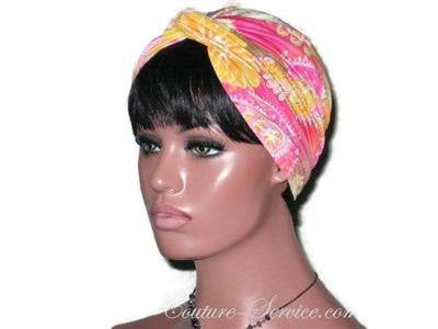 Handmade Yellow Twist Turban, Abstract, Pink - Couture Service  - 1