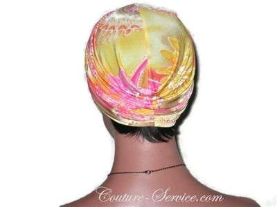 Handmade Yellow Twist Turban, Abstract, Pink - Couture Service  - 4