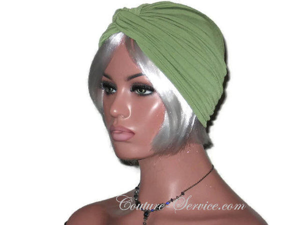 Handmade Green Twist Turban, Olive - Couture Service  - 2