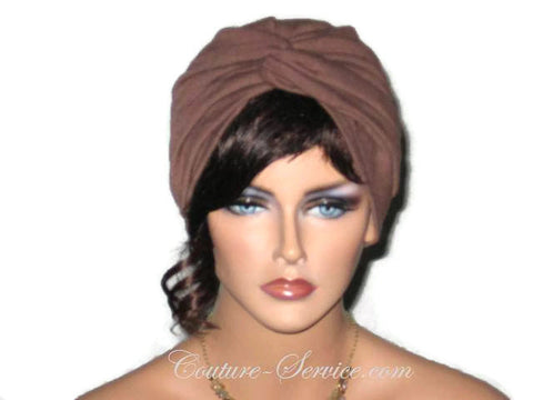 Handmade Brown Twist Turban, Chocolate - Couture Service  - 1