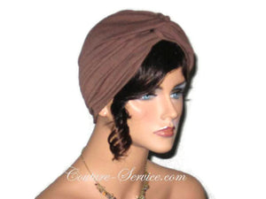 Handmade Brown Twist Turban, Chocolate - Couture Service  - 2