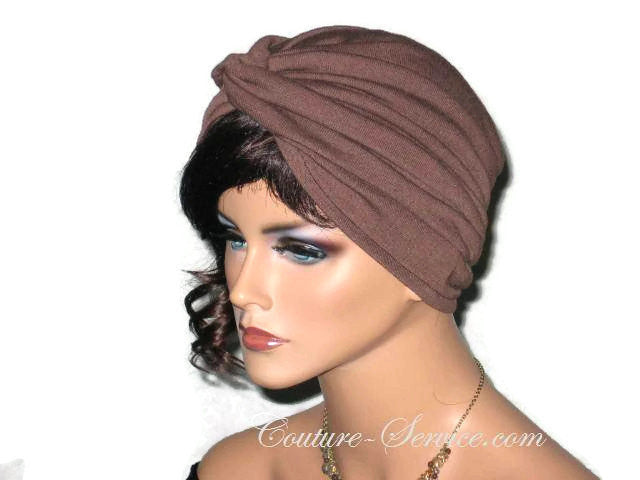 Handmade Brown Twist Turban, Chocolate - Couture Service  - 4