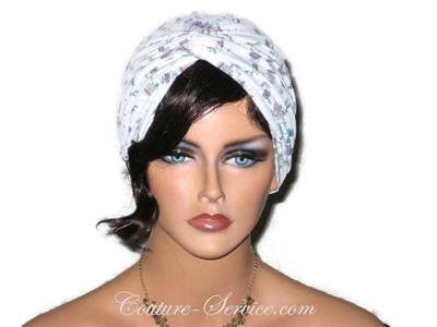 Handmade Purple Twist Turban, Floral, Teal - Couture Service  - 1
