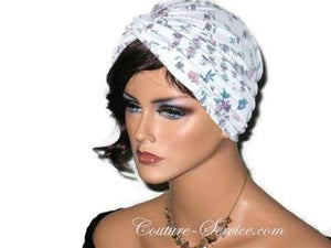 Handmade Purple Twist Turban, Floral, Teal - Couture Service  - 2