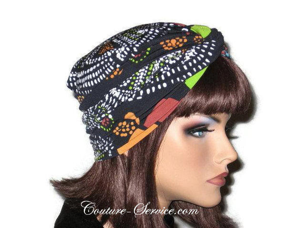 Handmade Black Twist Turban, Orange, Abstract - Couture Service  - 4