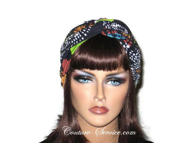 Handmade Black Twist Turban, Orange, Abstract - Couture Service  - 1