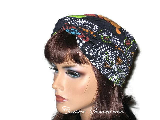 Handmade Black Twist Turban, Orange, Abstract - Couture Service  - 2