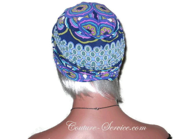 Handmade Blue Twist Turban, Abstract, Medallions - Couture Service  - 3