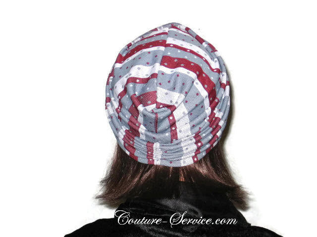 Handmade Grey Twist Turban, Burgundy, Striped - Couture Service  - 3