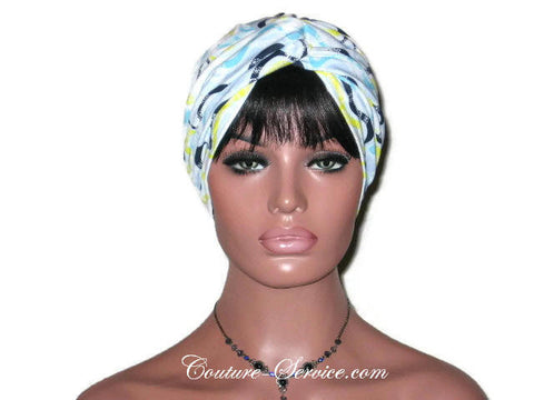 Handmade Blue Twist Turban, Abstract, Wave - Couture Service  - 1