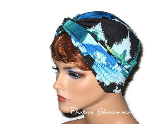 Handmade Blue Twist Turban, Abstract, Teal Green - Couture Service  - 2