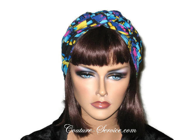Handmade Blue Twist Turban, Abstract, Turquoise - Couture Service  - 1