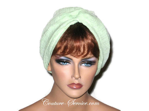 Handmade Green Twist Turban, Lime, Cotton Gauze - Couture Service  - 1