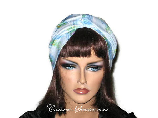 Handmade Blue Twist Turban, Floral, Double Knit - Couture Service  - 1